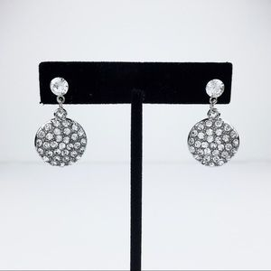 Rhinestone Silver Pavé-Set Dangle Earrings 2.86ct